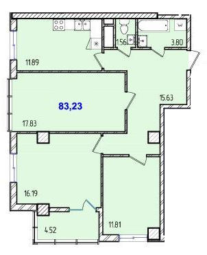 Трехкомнатная - ЖК 40 и 41 Жемчужины$51282Площадь:83,23m²