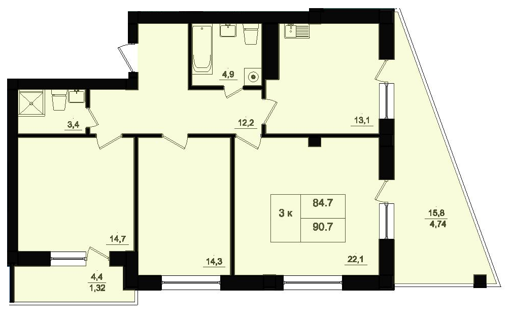 Трехкомнатная - ЖК Парк Фонтанов$54360Площадь:90,6m²