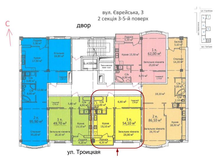 55 кв.м ЖК Дом на Еврейской (Чайная фабрика Будова) Однокомнатная расположение на этаже