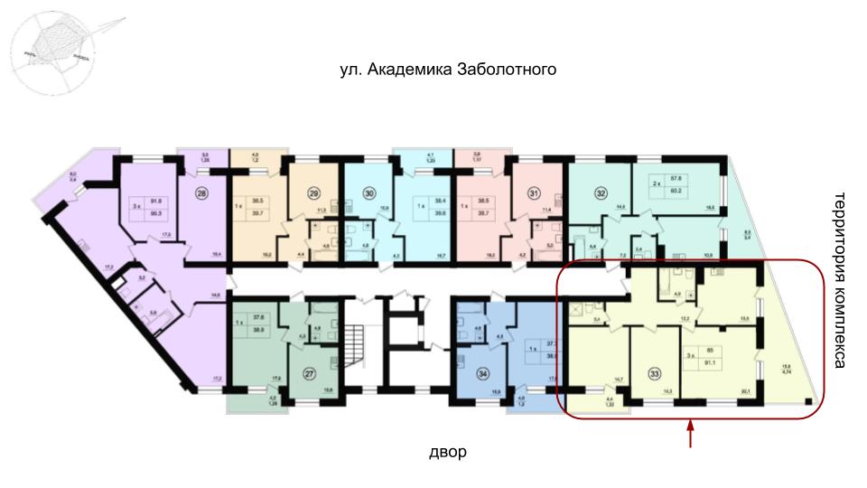 90,6 кв.м Парк Фонтанов Трехкомнатная Расположение на этаже