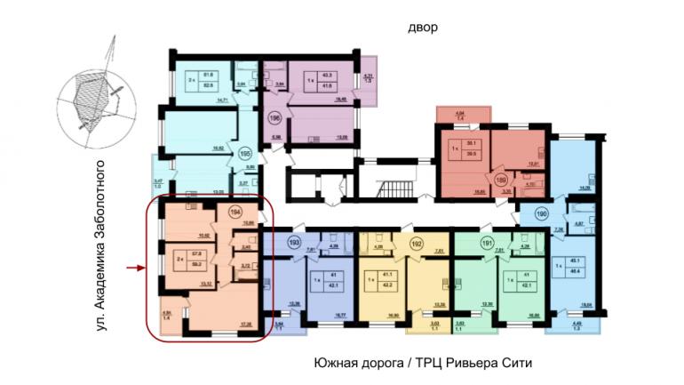59,7 кв.м Парк Фонтанов Двухкомнатная Расположение на этаже