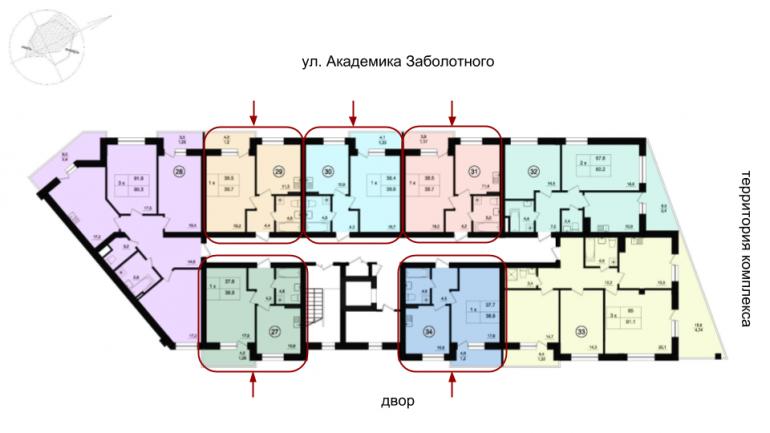 Парк Фонтанов Однокомнатная 38,6 Расположение на этаже