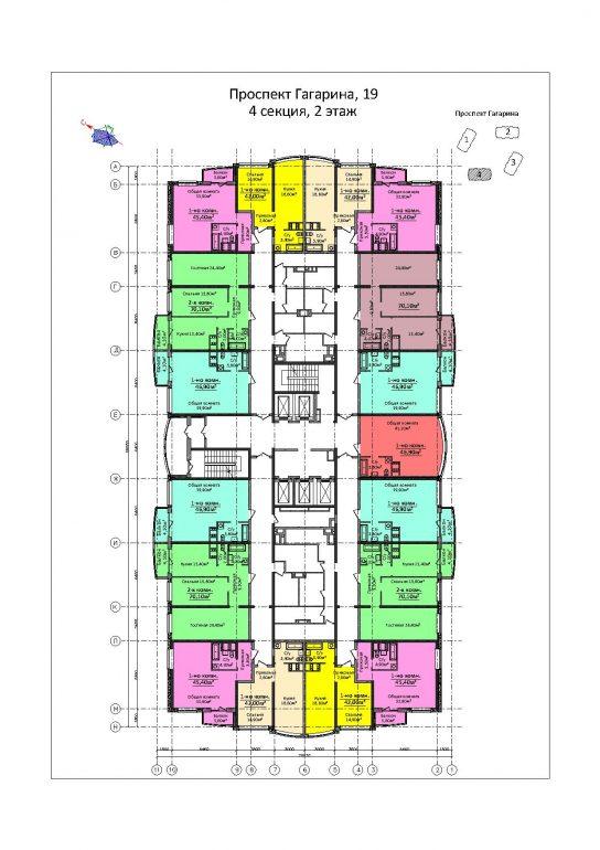 ЖК 4 сезона / Секция 4 / План 2-го этажа