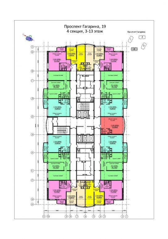 ЖК 4 сезона / Секция 4 / План 3-13 этажей