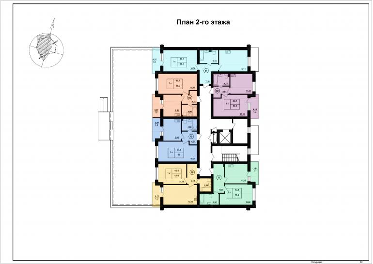 ЖК Парк Фонтанов / Секция 5 / План 2-го этажа