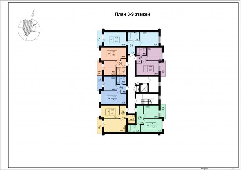 ЖК Парк Фонтанов / Секция 5 / План 3-9 этажей