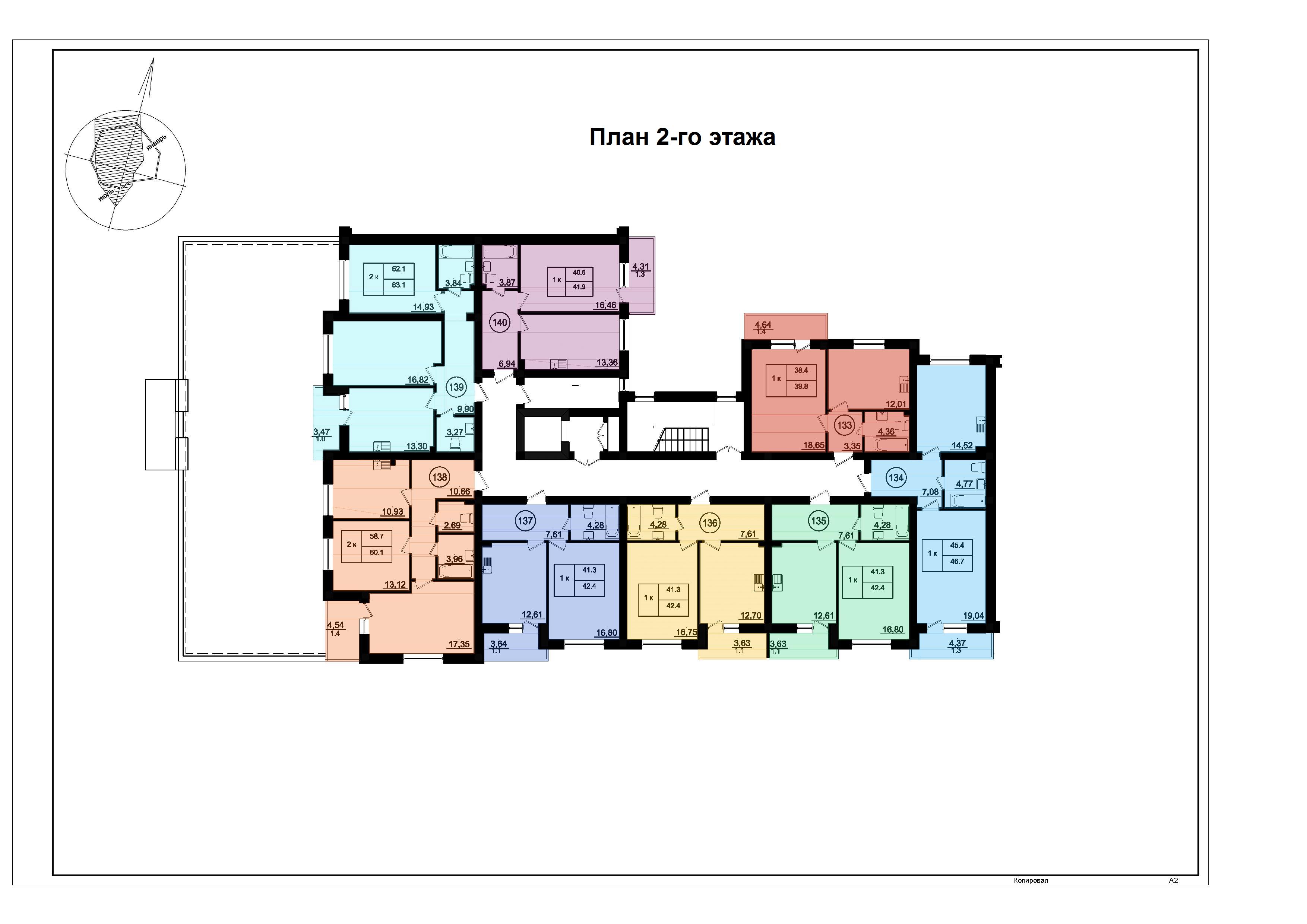 ЖК Парк Фонтанов / Секция 6(л) / План 2-го этажа
