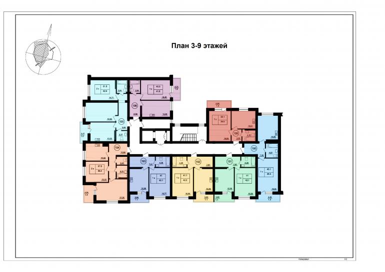 ЖК Парк Фонтанов / Секция 6(л) / План 3-9 этажей