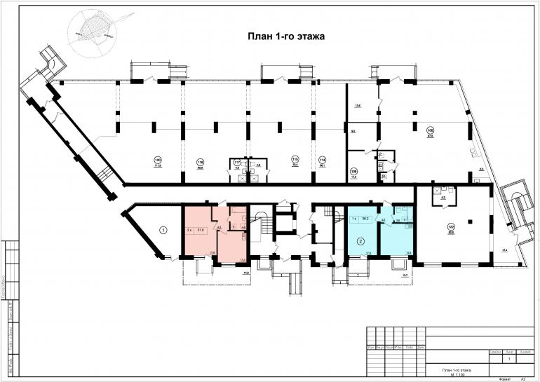 ЖК Парк Фонтанов / Секция 9 / План 1-го этажа