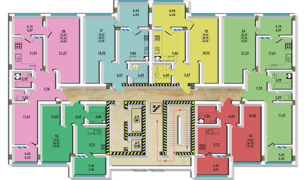 ЖМ Радужный / Дом №24 / Секция Б / План типового этажа