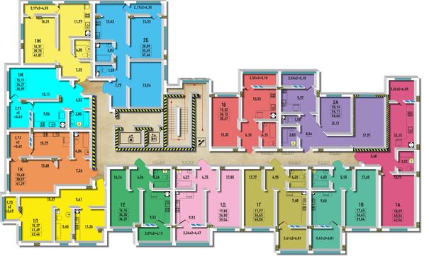 ЖМ Радужный / Дом №24 / Секция Д / План типового этажа