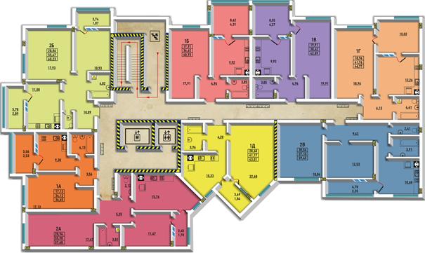 ЖМ Радужный / Дом №24 / Секция В1 / План типового этажа