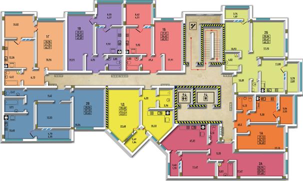 ЖМ Радужный / Дом №24 / Секция В2 / План типового этажа