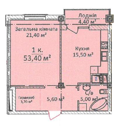 ЖК Дом на Еврейской (Чайная фабрика Будова) Однокомнатная 53,4 Планировка