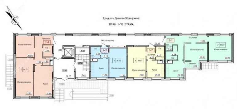 ЖК 39 Жемчужина / План 1-го этажа
