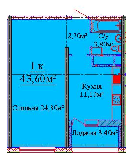 43,1 кв.м ЖК на Жаботинского Будова Альтаир 3 Однокомнатная Планирвока 2
