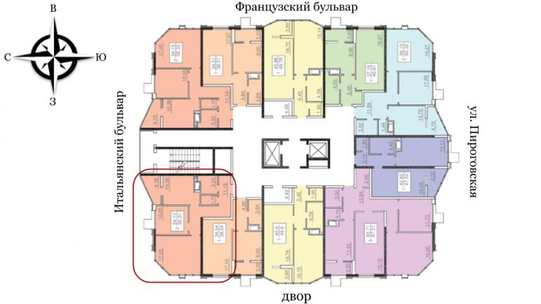 24 25 Жемчужина Двухкомнатная 65,4 Расположение на этаже