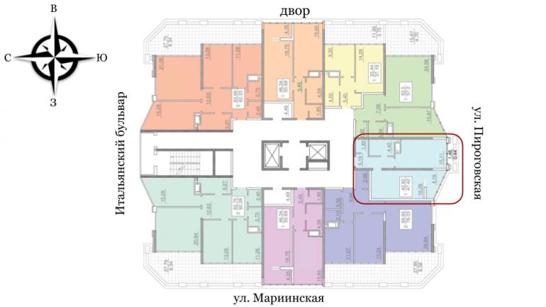 24 25 Жемчужина Однокомнатная 49,64 Расположение на этаже