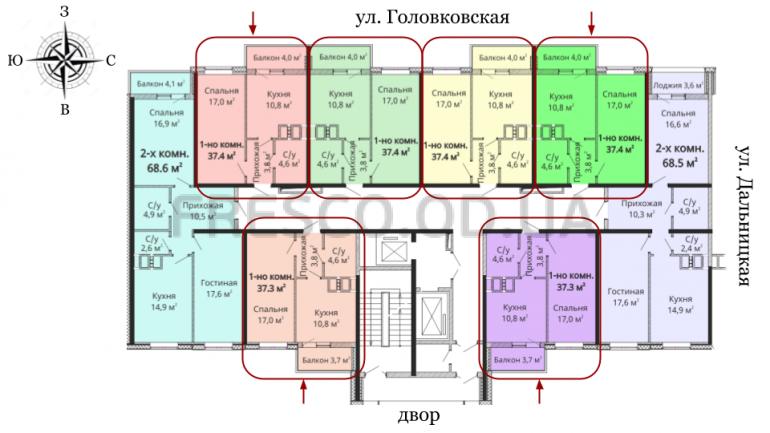 37,9 кв.м Михайловский городок 2 очередь Однокомнатная расположение на этаже