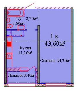 Однокомнатная - ЖК на Жаботинского Будова (Альтаир 3)$30096Площадь:43,4m²