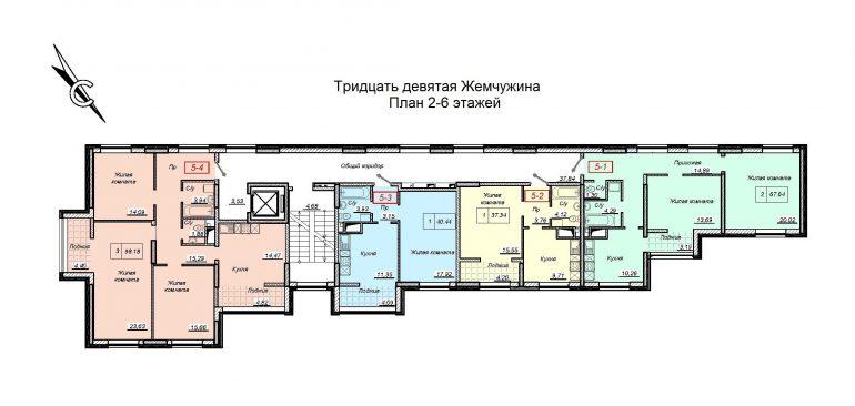ЖК 39 Жемчужина / План 2-6 этажей