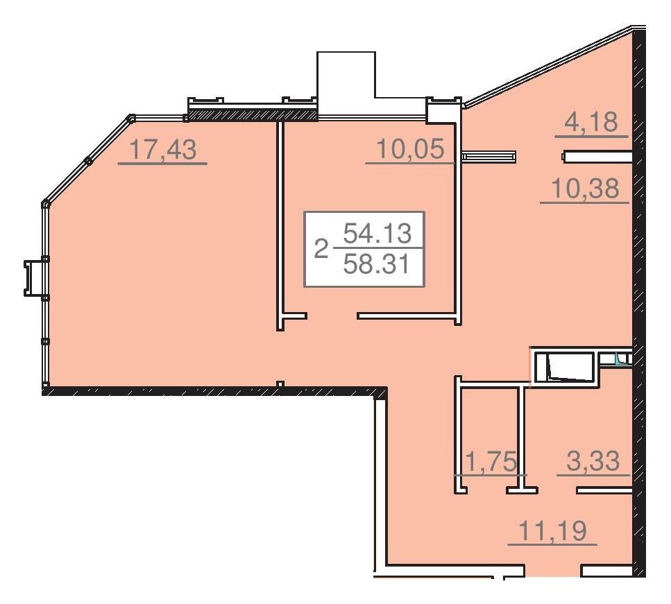 Двухкомнатная - 24 Жемчужина 25 ЖемчужинаПроданаПлощадь:65,4m²