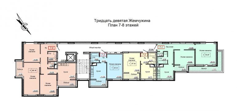 ЖК 39 Жемчужина / План 7-8 этажей