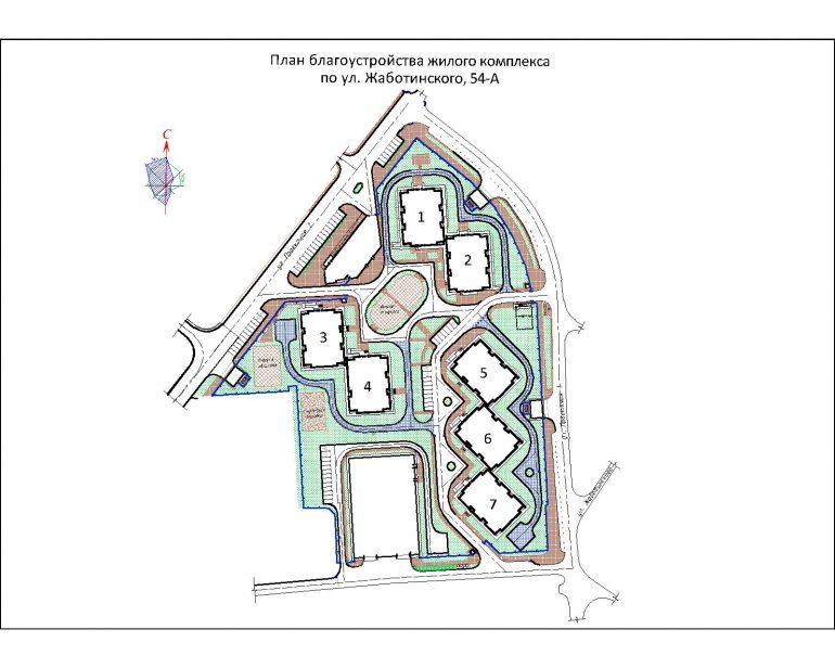 ЖК на Жаботинского Будова (Альтаир 3) / План застройки территории