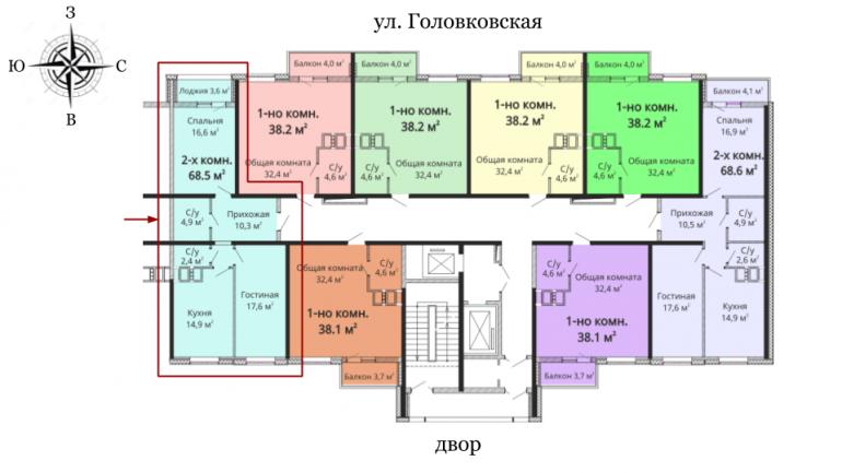 68,6 Михайловский городок 2 очередь Двухкомнатная Расположение на этаже