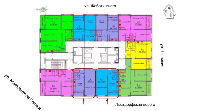43,4 кв.м ЖК на Жаботинского Будова Альтаир 3 Однокомнатная расположение на этаже