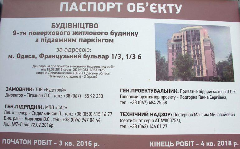 ЖК Французский бульвар 1/3 Новострой в Одессе Паспорт объекта