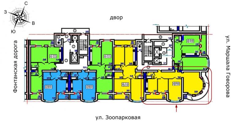 Победа 1 очередь Трехкомнатная 111,49 Расположение на этаже