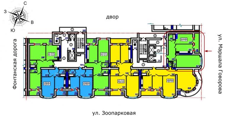 ЖК Победа 1 очередь Двухкомнатная 77,48 Расположение на этаже