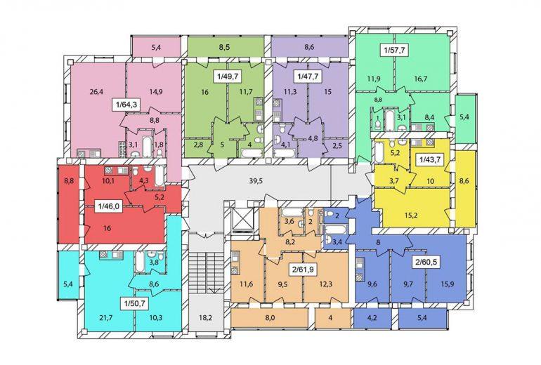 ЖК Одесская Чайка / Секция №2 / План типового этажа
