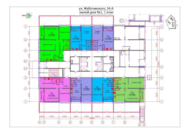 ЖК на Жаботинского Будова (Альтаир 3) / Секция 1 / План 1-го этажа