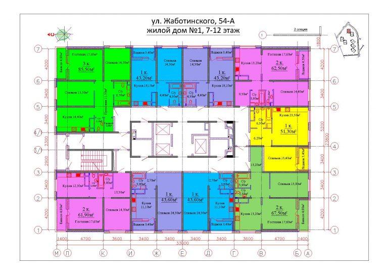 ЖК на Жаботинского Будова (Альтаир 3) / Секция 1 / План 7-12 этажей