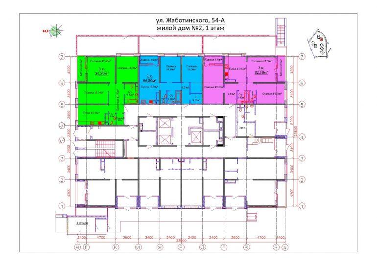 ЖК на Жаботинского Будова (Альтаир 3) / Секция 2 / План 1-го этажа