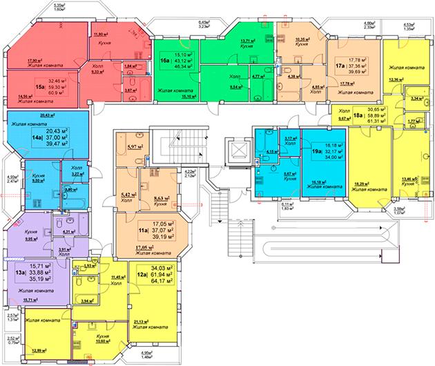 ЖК Мариинский / Секция А / План 1-го этажа