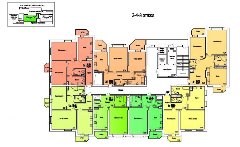 ЖК Поющий Фонтан / Секция А / План 2-4 этажей
