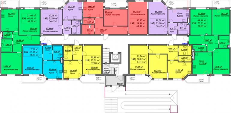 ЖК Мариинский / Секция Б / План 1-го этажа