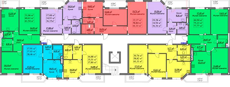 ЖК Мариинский / Секция Б / План 2-7 этажа