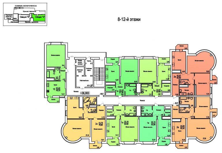 ЖК Поющий Фонтан / Секция Б / План 8-12 этажей