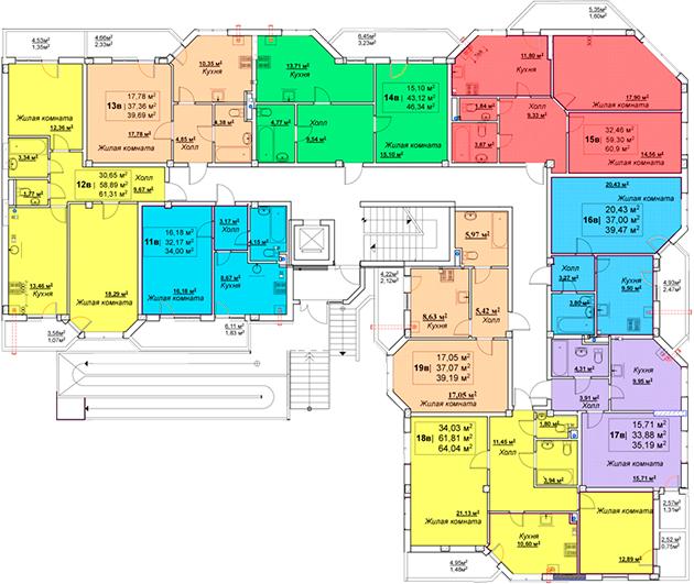 ЖК Мариинский / Секция В / План 1-го этажа