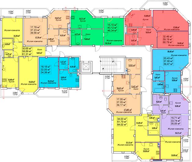 ЖК Мариинский / Секция В / План 2-7 этажей