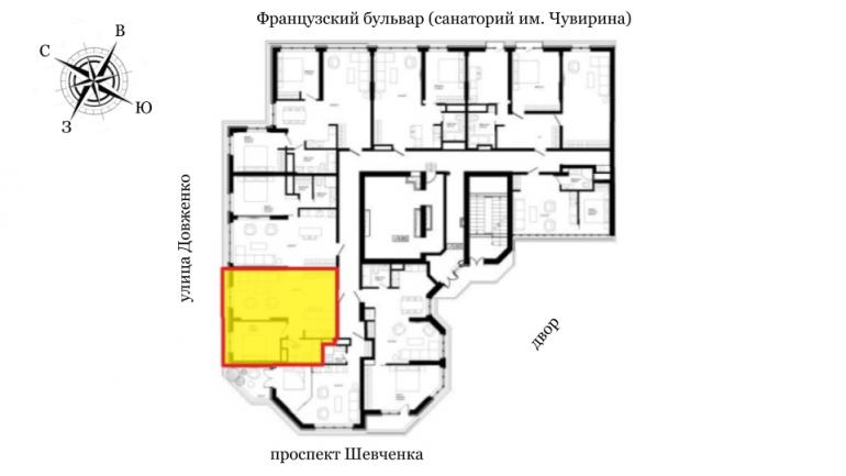 ЖК Французский бульвар Стикон Однокомнатная 53,9 Расположение на этаже