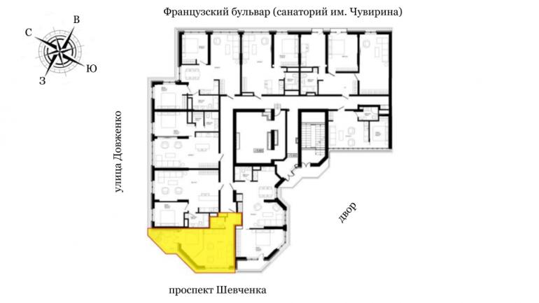 ЖК Французский бульвар Стикон Однокомнатная 35,8 Расположение на этаже