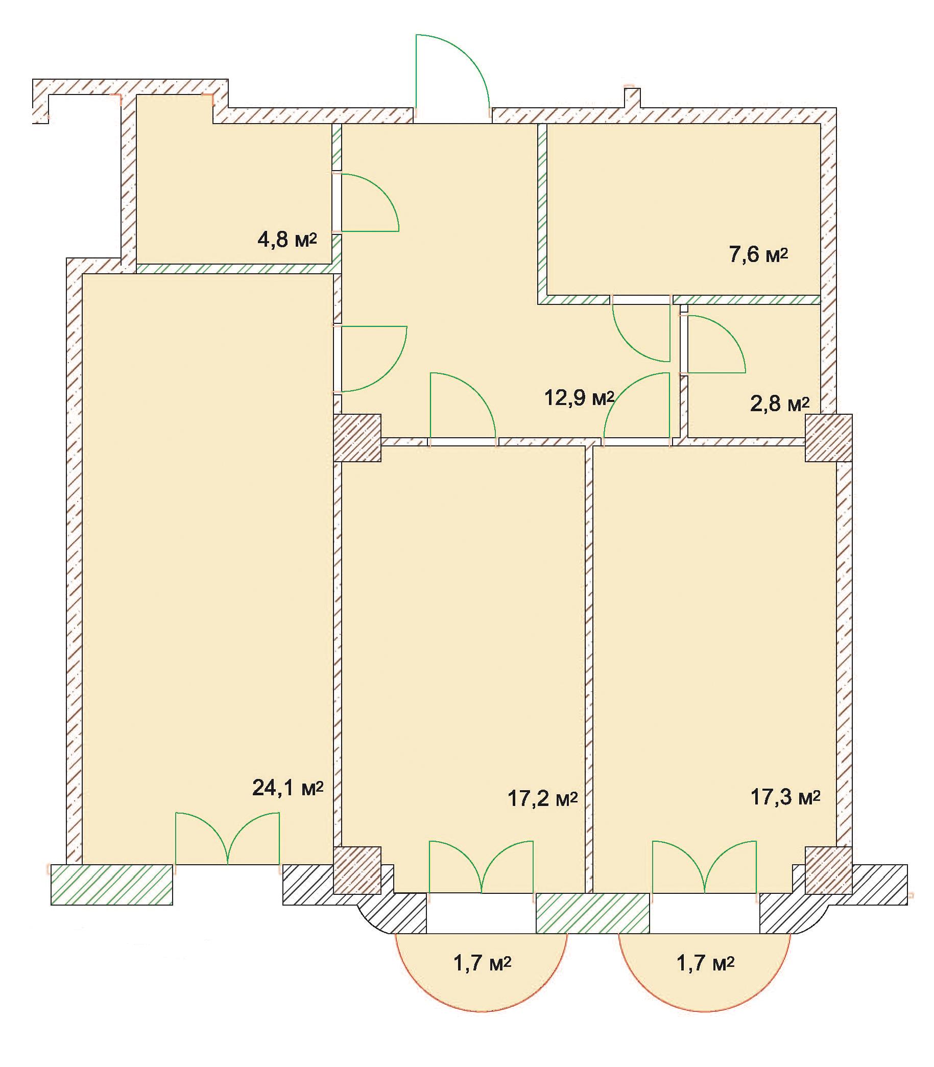 Двухкомнатная - ЖК Наследие Дерибаса$147510Площадь:89,4m²