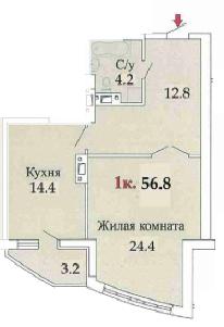56,6 ЖК одиссей однокомнатная планировка