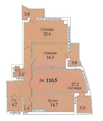 106,7 ЖК Одиссей трехкомнатная планировка