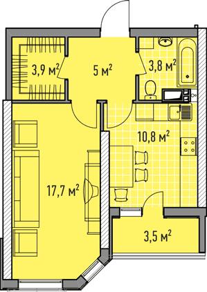 Однокомнатная - ЖК Элегия Парк$42454Площадь:43,32m²